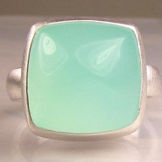Sea Green Chalcedony Sugarloaf Cocktail Ring in Sterling Silver. $145.00, via Etsy.