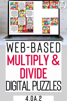 Multiply & Divide Digital Puzzles. Practices math standard 4.0A.2. Fun & Engaging puzzles to help your students master mutliply & Division facts. 12 no prep & self checking math puzzles. Works on any device with internet.