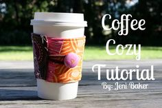 Tutorial for fabric coffee sleeve with a free pattern download. A useful handmade gift.