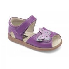 2015 Spring Maryssa Sandal in Purple by #SeeKaiRun - A lavender and aqua butterfly flits across the fully adjustable toe of this bold purple sandal. The added collar and cushioned leather insoles and lining will keep her feet comfortable all summer long. #3littlemonkeys