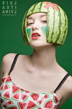 Watermelon Helmet.  Clever helmet made out of a watermelon for a fashion photo series.