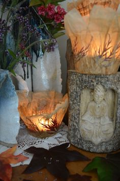 In a Watering Can on Monday Paper Mache Clay, Watering Can, Candle Holders, Table Lamp, Vase, Candles, Tea, Canning, Flowers