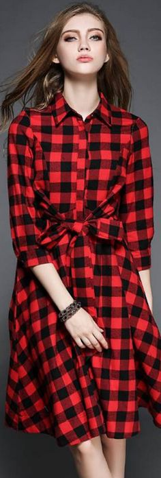 Red Contrast Collar 3/4 Sleeves Plaid Dress