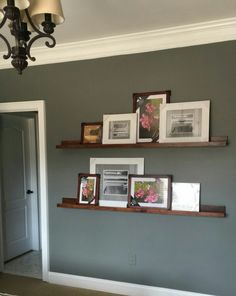 Floating shelves to display photographs and perhaps your children's art work.