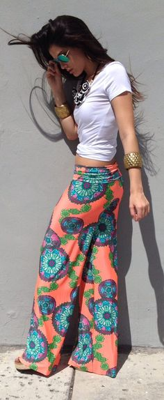Coral patterned pants