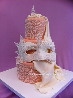 VENICIAN MASK-ROSE 2 by Red Carpet Cake Design