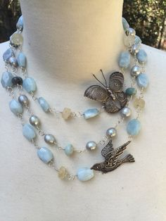 SPRING Beautiful Triple Strand Necklace with by DRAMAJEWELRY
