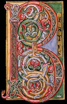 ") Book of Kells illuminated manuscript, initial letter ""B"" Medieval Books, Medieval Manuscript, Medieval Art, Illuminated Letters, Illuminated Manuscript, Schrift Design, Illumination Art, Book Of Kells, Antique Books"