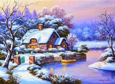 art picture Picture - More Detailed Picture about Home Decor DIY Diamond Painting Snow Cottage Full Diamond Embroidery Mosaic Pictures of Rhinestones Winter Landscape Wall Art Picture in Diamond Painting Cross Stitch from REDIY LADIY Store Old Cottage, Cottage Art, Winter Painting, Oil Painting On Canvas, Painting Snow, Painting Flowers, Canvas Art, Christmas Scenes, Christmas Art