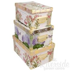 Floral Design Storage Boxes (Set of 3), be creative and choose flower prints to bring nature indoor.