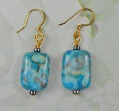 Blue Crazy Agate earring  dangle earrings  gold by beadwizzard, $11.00