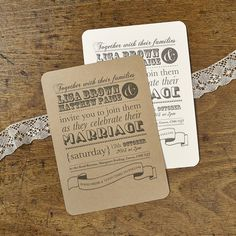 rustic typography wedding invitations by katie leamon | notonthehighstreet.com