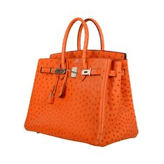 STUNNING HERMES BIRKIN BAG 35CM OSTRICH LEATHER TANGERINE ORANGE | From a collection of rare vintage top handle bags at https://www.1stdibs.com/fashion/handbags-purses-bags/top-handle-bags/