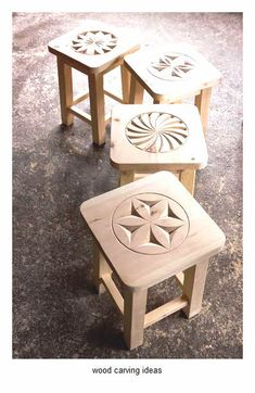 Chip carved pattern stools ideas
