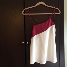 ASOS Silk Asymmetrical Tank Pink and White, Excellent Condition ASOS Tops Tank Tops