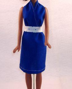 Handmade Barbie Summer Halter Dress - Blue with Blue & White Waistband Polka Dots. $5.00, via Etsy.