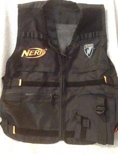 Nerf Tactical Vest Black Neon Orange N Strike Gear Accessory Adjustable Zip | eBay