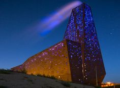 Lighting installation by Dutch architect Erick van Egeraat at The Energy Tower facility in Roskilde