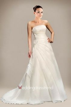 Wonderful Empire A-line Strapless Brush Train Wedding Dress - http://www.weddingdresstrend.com/en/empire-a-line-strapless-chapel-train-wedding-dress.html