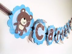 Bear Name Banner in Blue & Brown - blue teddy bear collection on Etsy, $15.00