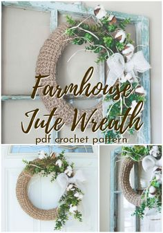 Beautiful rustic and timeless farmhouse style jute wreath crochet pattern! I love wreaths! This one would be perfect for Christmas or all seasons! Sitting Room Decor, Hand Lettering Styles, Crafts For Kids, Diy Crafts, Presents For Mom, Farmhouse Style Decorating, Diy Wall Art, Crochet Gifts, Simple House