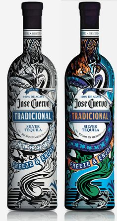 A tequila bottle that changes when freezing