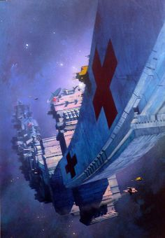artwork by John Harris - John Harris - Star Surgeon 19.5x27.5 Acrylic 1996  This is the cover for Jame White's Sector General novel, STAR SURGEON, published by Macdonalds (Futura) Books in the UK in 1996