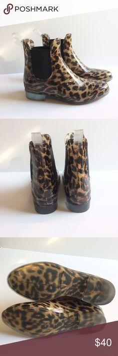 J.Crew Chelsea Rain Boots. Leopard print J.Crew Chelsea rain boots in excellent condition, with no flaws. J. Crew Shoes Winter & Rain Boots
