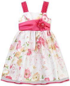 Jayne Copeland Little Girls' Floral-Print Shantung Dress - Kids Dresses & Dresswear - Macy's