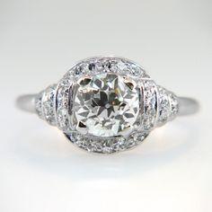 Fantastic Art Deco 1.45ctw Old Mine Cut Engagement Ring Platinum   Antique & Estate Jewelry   Jewelry Finds