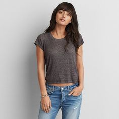 AEO Soft & Sexy Tomgirl T-Shirt ($20) ❤ liked on Polyvore featuring tops, t-shirts, grey, crewneck tee, crew neck tee, gray tee, ribbed top and sexy tops