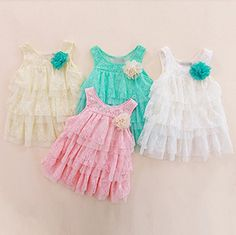 New 2013 infant baby girls lace dresses children clothing for autumn -summer kids princess flower tutu dress 4colors A88 $10.65