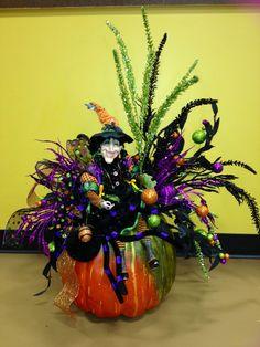 Halloween Witch Pumpkin Arrangement by Lupita Rodriguez