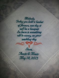 Personalized Wedding Handkerchief for FLOWER GIRL