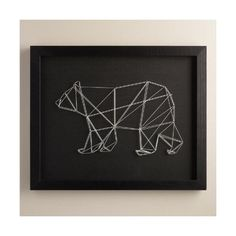 Cost Plus World Market Geo Bear String Wall Art by Christine Tong ($60) ❤ liked on Polyvore featuring home, home decor, wall art, contemporary wall art, black bear wall art, black white wall art, geometric wall art and black home decor
