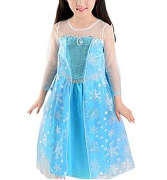 Uget Girls Frozen Romance snow sequin stitching dress for girls Blue10 Years -- Find out more about the great product at the image link.
