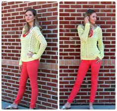 .Spring transition must- yellow & coral! Pair this light sweater with a pop of color to brighten up your wardrobe! grin emoticon