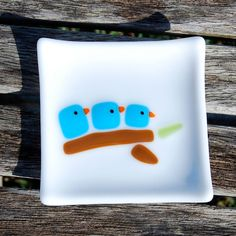 So Cute  Bluebird Family - Little Fused Glass Dish