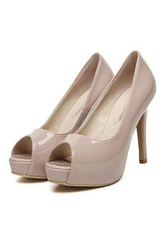Women's peep toe candy color leather high heels