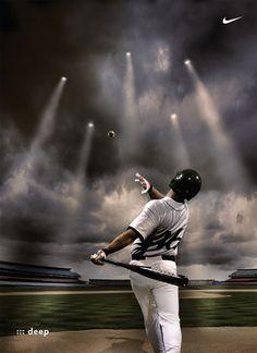 Marketing THROUGH Sports Place: Baseball Stadium, Online Ad Product: Nike baseball Price: Any Nike Product People: Baseball Fans Promotion: Baseball Sports Advertising, Advertising Pictures, Sports Marketing, Creative Advertising, Viral Advertising, Guerrilla Advertising, Advertising Campaign, Nike Outfits, Baseball Art