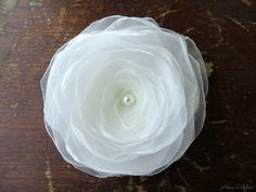Wedding Hair Flower  Ivory Shimmery Organza by AnnaDelphiaBridal, $20.00