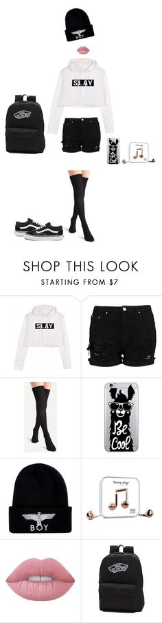 """""""Slayin It"""" by krcsummerson on Polyvore featuring OTM Essentials, BOY London, Lime Crime, Vans, blackandwhite, slay and Flyboy"""