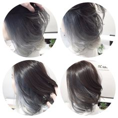 Achieved a silver grey tone ombre balayage with Asian-type hair.