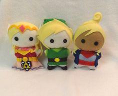 Legend of Zelda chibi plushies by TheCraftyMice on Etsy - Zelda, Link, and Tetra