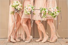 I like that all the bridesmaid's dresses are short and the Maid of Honors is long. But they're all still different to fit the girl's body type.
