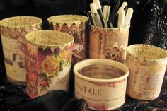 french designed decoupaged tin cans using scrap book paper