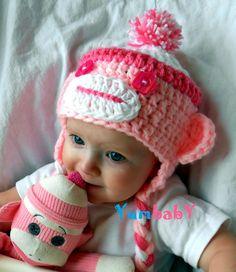 33e9606bf02 Baby Hats Sock Monkey Hat Pink Monkey Hats Handmade by YumBaby