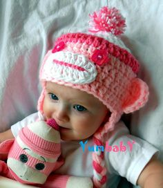 Baby Hats Sock Monkey Hat Pink Monkey Hats Handmade by YumbabY