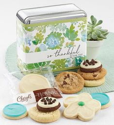 These delightful gift tins are filled with a delicious assortment of buttercream frosted cut-outs, assorted snack size cookies along with our thank you wrapped buttercream frosted vanilla cut-out cookies. OU D. 10 cookies. Thank You Cookies, Cut Out Cookies, Chocolate Chip Cookies, Sugar Cookies, Tin Gifts, Buttercream Frosting, Thank You Gifts, Thankful