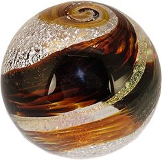 "Celebration Ashes 3"" Globe (Brown/Amber/Gold) Cremation Ash Glass Memorials www.celebrationashes.com"